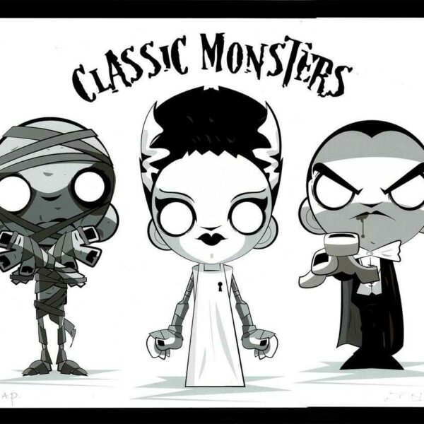 Classic Monsters Giclee by Juan Rubi featuring Dracula, The Mummy, and Mary Shelley